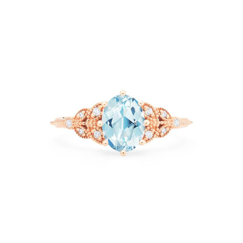 [Olivia] Classic Floral Oval Cut Ring in Aquamarine - Michellia Fine Jewelry