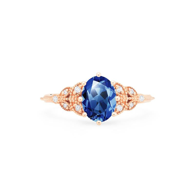 [Olivia] Classic Floral Oval Cut Ring in Lab Blue Sapphire - Michellia Fine Jewelry