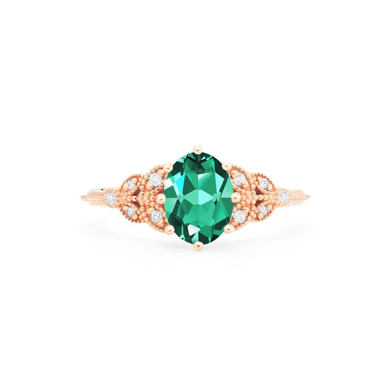 [Olivia] Classic Floral Oval Cut Ring in Lab Emerald