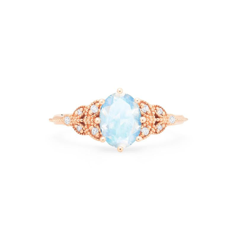 [Olivia] Classic Floral Oval Cut Ring in Moonstone - Michellia Fine Jewelry