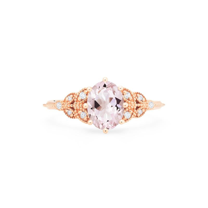 [Olivia] Classic Floral Oval Cut Ring in Morganite