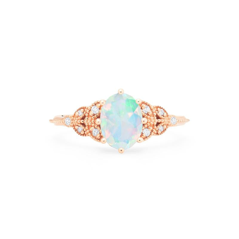 [Olivia] Classic Floral Oval Cut Ring in Opal - Michellia Fine Jewelry