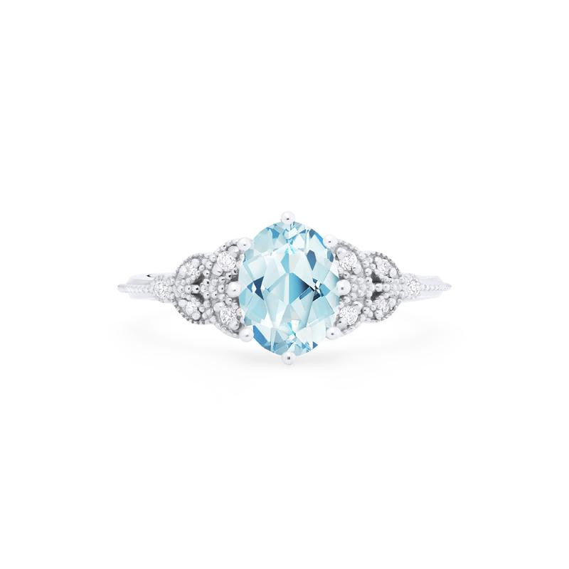 [Olivia] Ready-to-Ship Classic Floral Oval Cut Ring in Aquamarine - Women's Ring - Michellia Fine Jewelry