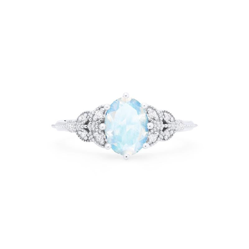 [Olivia] Ready-to-Ship Classic Floral Oval Cut Ring in Moonstone - Women's Ring - Michellia Fine Jewelry