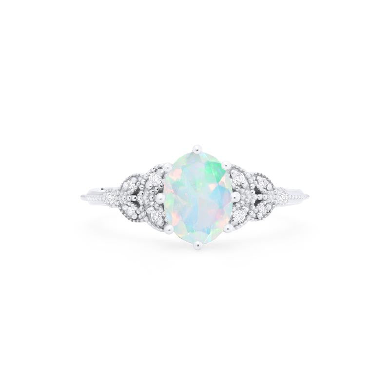 [Olivia] Ready-to-Ship Classic Floral Oval Cut Ring in Opal - Women's Ring - Michellia Fine Jewelry
