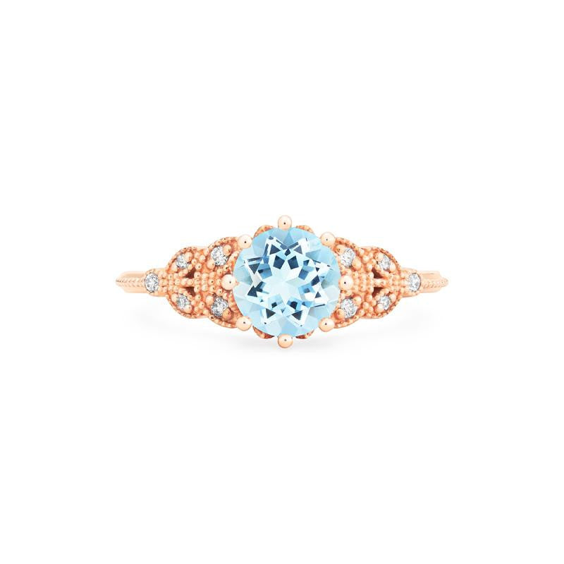 [Kerensa] Ready-to-Ship Classic Floral Ring in Aquamarine - Women's Ring - Michellia Fine Jewelry