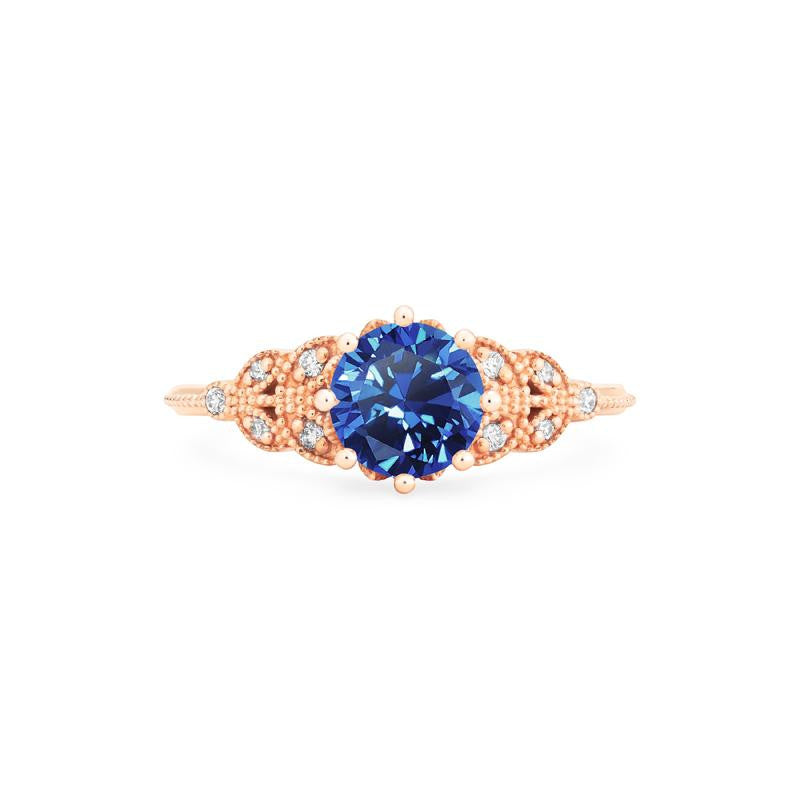 [Kerensa] Classic Floral Ring in Lab Blue Sapphire - Michellia Fine Jewelry