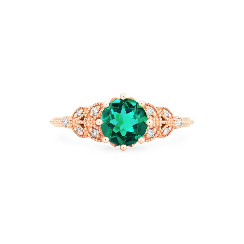 [Kerensa] Classic Floral Ring in Lab Emerald