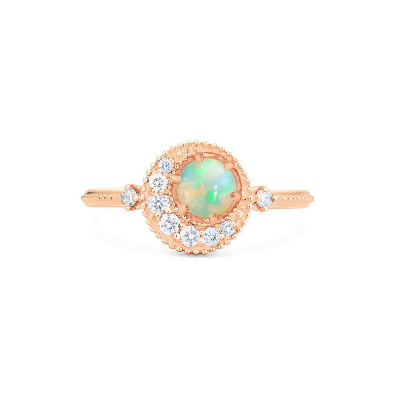 [Luna] Crescent Moon Ring in Opal - Michellia Fine Jewelry