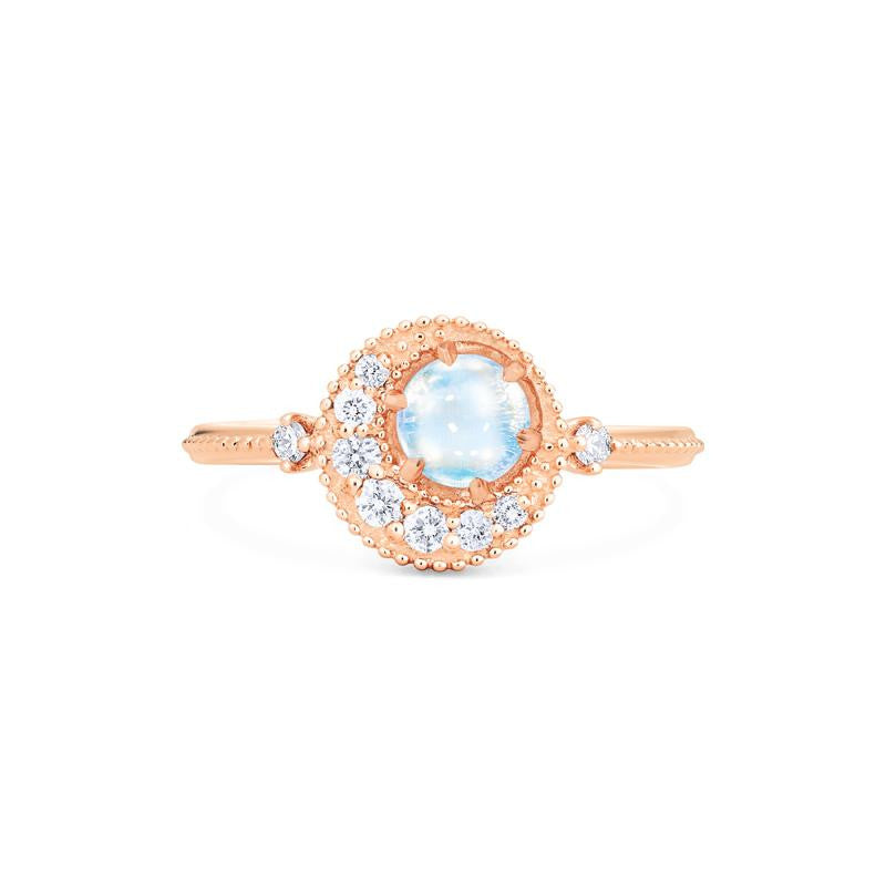 [Luna] Crescent Moon Ring in Moonstone - Michellia Fine Jewelry