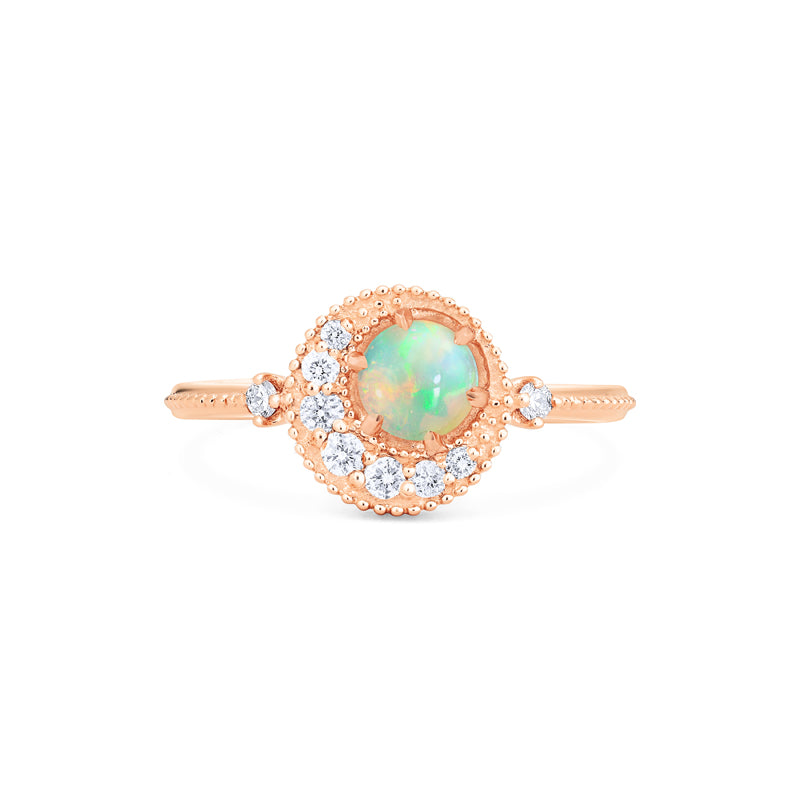 [Luna] Ready-to-Ship Crescent Moon Ring in Opal - Women's Ring - Michellia Fine Jewelry