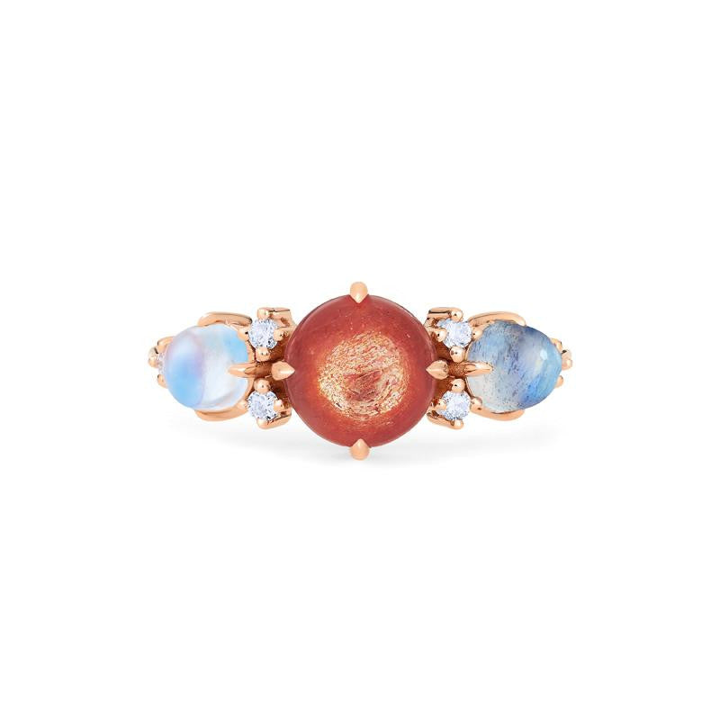 [Celestine] Galaxy Trio Three Stone Ring in Sunstone, Moonstone, and Labradorite - Women's Ring - Michellia Fine Jewelry