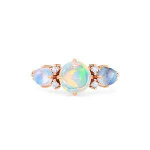 [Celestine] Galaxy Trio Three Stone Ring in Opal, Moonstone, and Labradorite - Women's Ring - Michellia Fine Jewelry