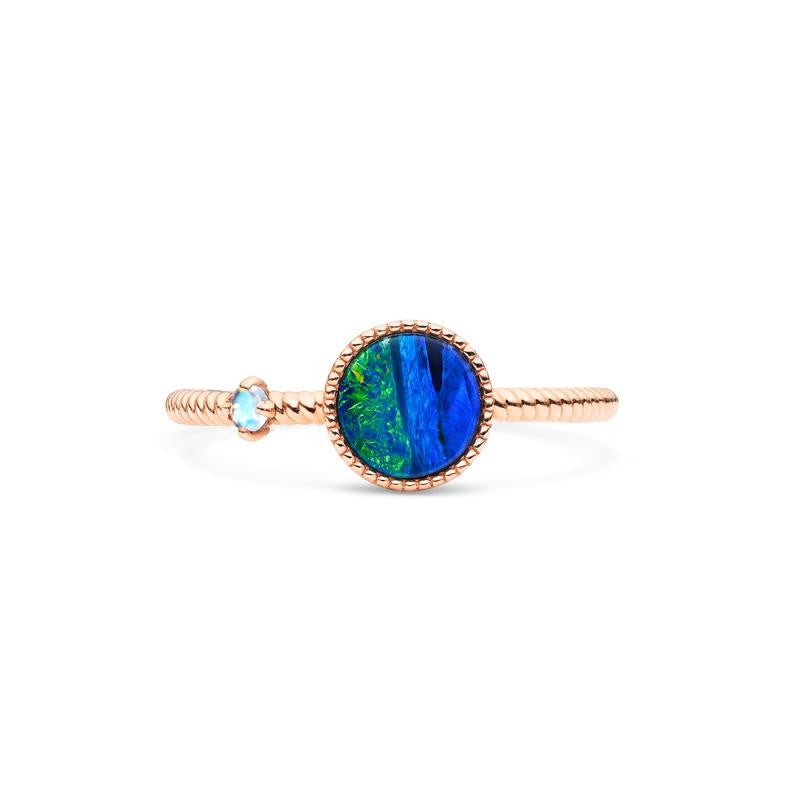 [Terra] Earth View Ring in Australian Boulder Opal - Women's Ring - Michellia Fine Jewelry