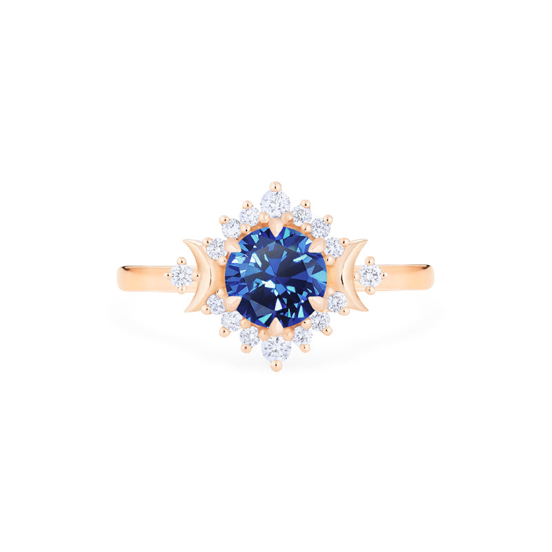 [Selene] Moon Goddess Ring in Lab Blue Sapphie - Women's Ring - Michellia Fine Jewelry