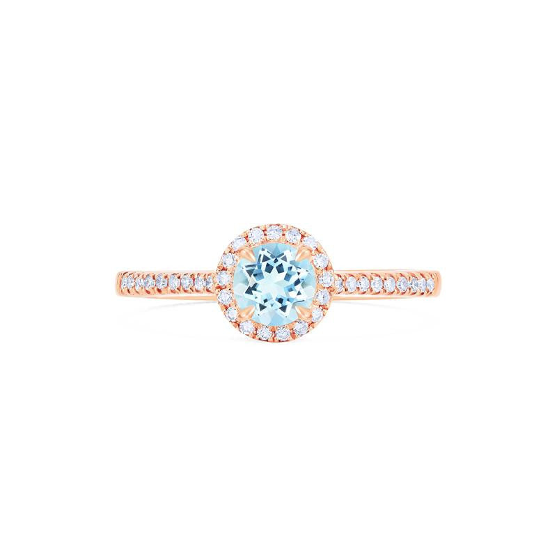 [Nova] Petite Halo Diamond Ring in Aquamarine - Women's Ring - Michellia Fine Jewelry