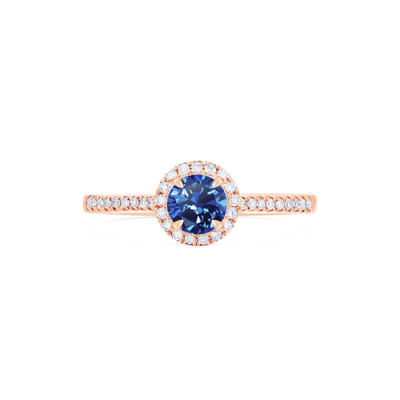 [Nova] Petite Halo Diamond Ring in Lab Blue Sapphire - Women's Ring - Michellia Fine Jewelry