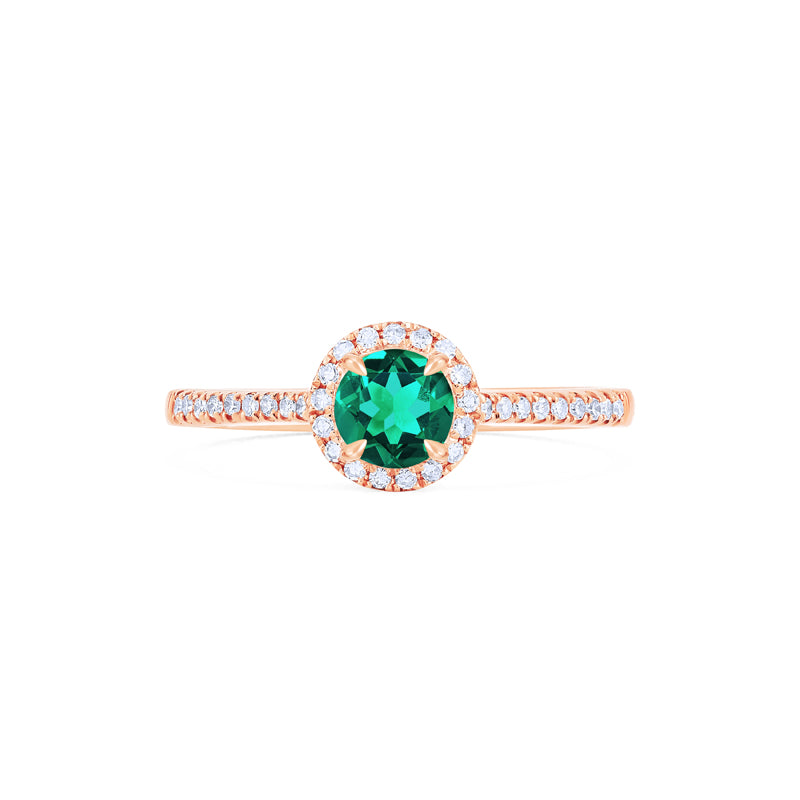 [Nova] Petite Halo Diamond Ring in Lab Emerald - Women's Ring - Michellia Fine Jewelry