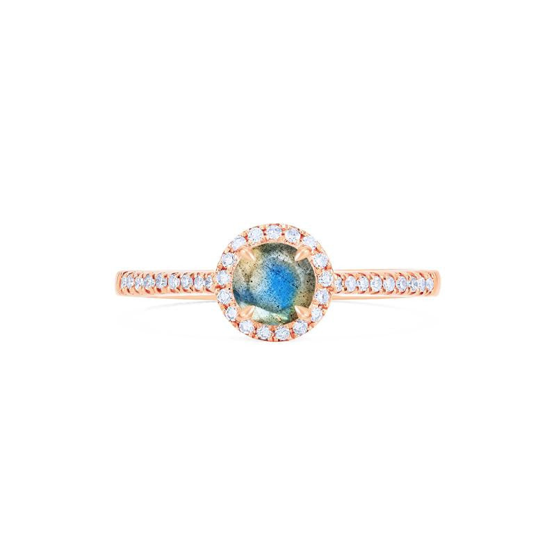 [Nova] Petite Halo Diamond Ring in Labradorite - Women's Ring - Michellia Fine Jewelry