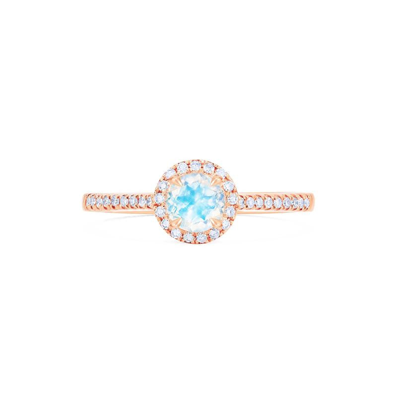 [Nova] Petite Halo Diamond Ring in Moonstone - Michellia Fine Jewelry