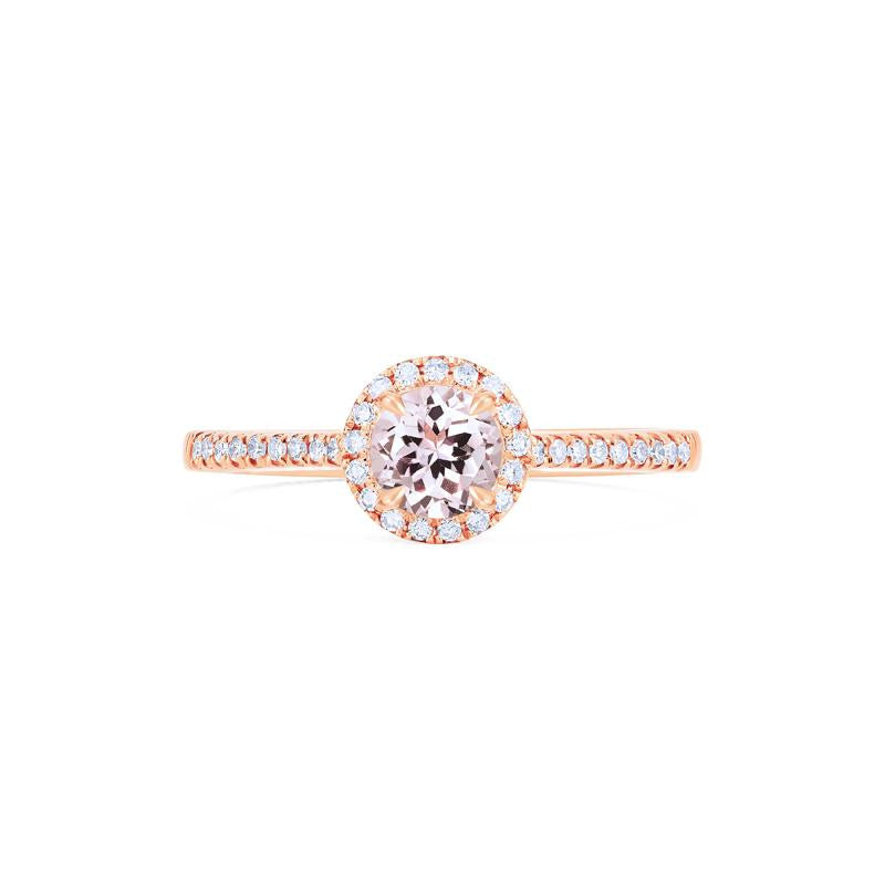 [Nova] Petite Halo Diamond Ring in Morganite - Women's Ring - Michellia Fine Jewelry