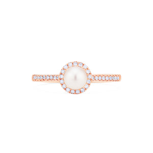 [Nova] Petite Halo Diamond Ring in Akoya Pearl - Women's Ring - Michellia Fine Jewelry