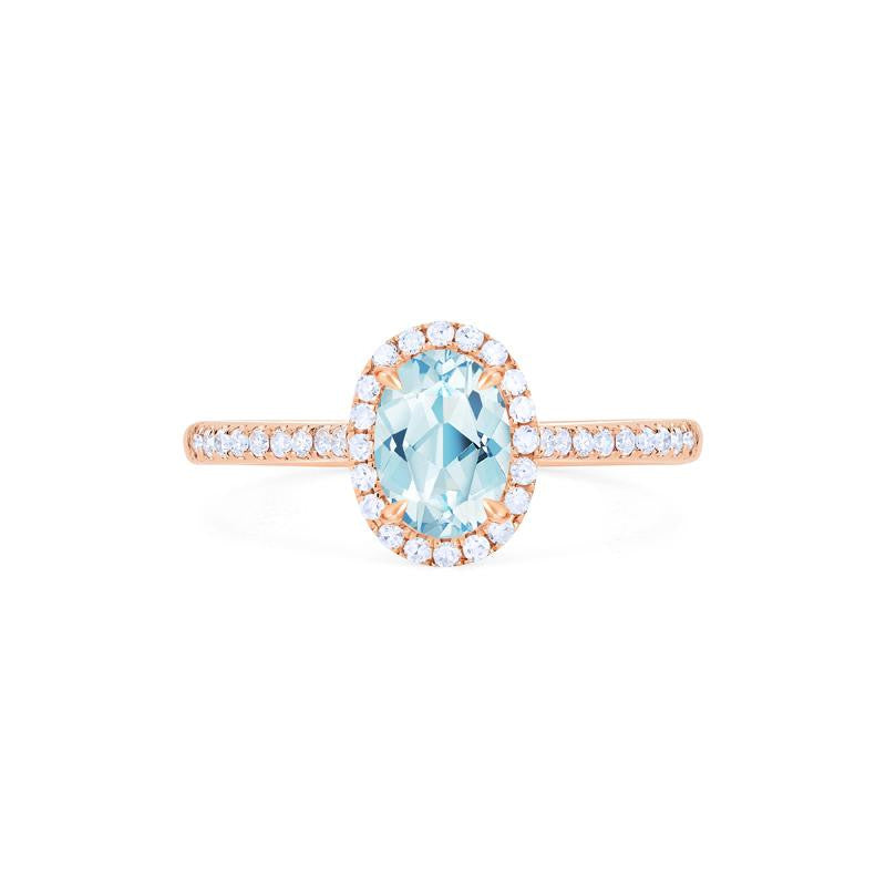 [Lenora] Petite Oval Halo Diamond Ring in Aquamarine - Women's Ring - Michellia Fine Jewelry