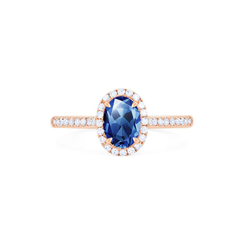[Lenora] Petite Oval Halo Diamond Ring in Lab Blue Sapphire - Michellia Fine Jewelry