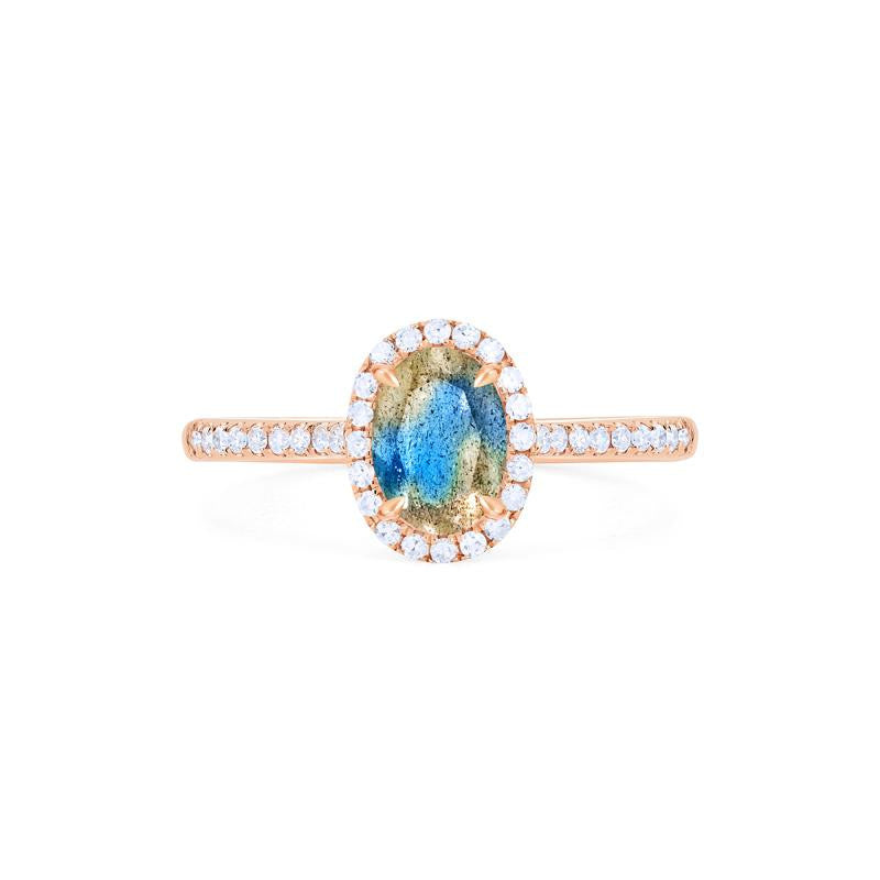 [Lenora] Petite Oval Halo Diamond Ring in Labradorite