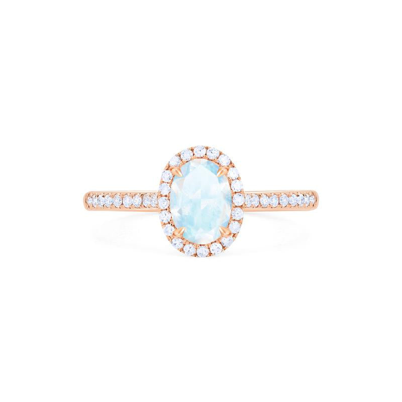 [Lenora] Petite Oval Halo Diamond Ring in Moonstone - Michellia Fine Jewelry