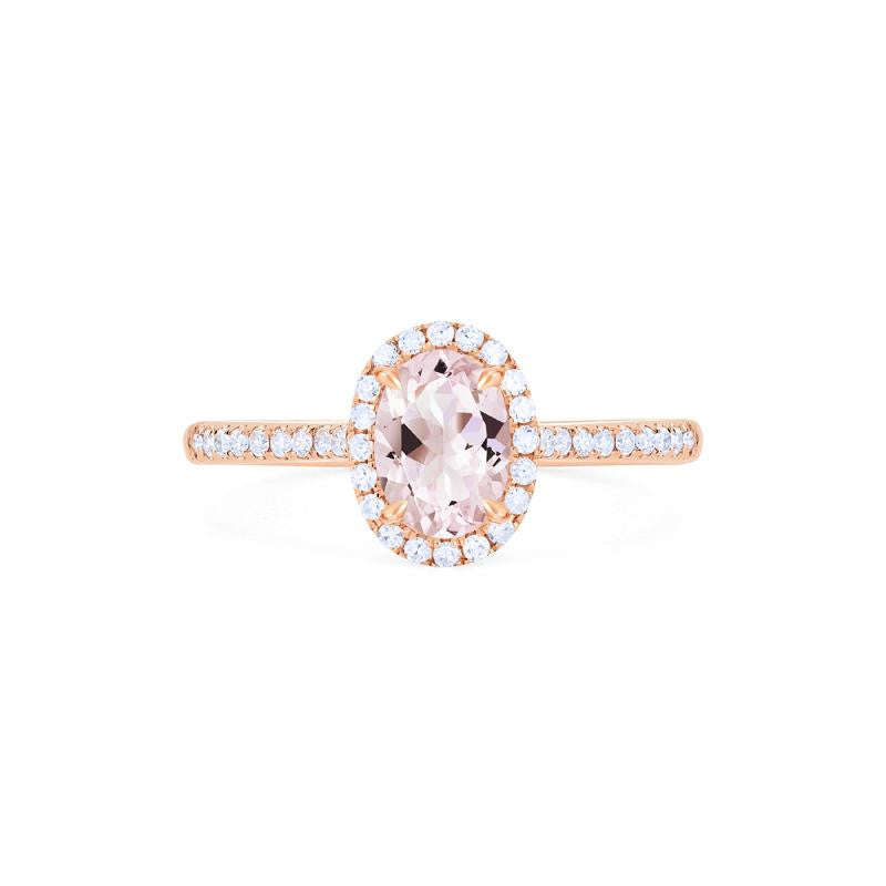 [Lenora] Petite Oval Halo Diamond Ring in Morganite - Michellia Fine Jewelry