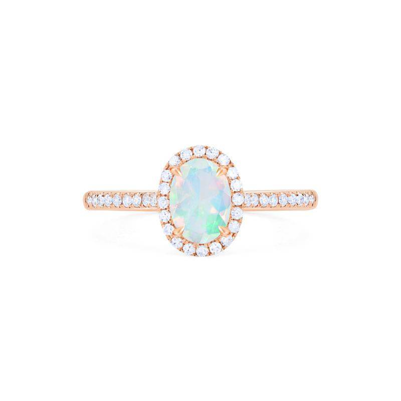 [Lenora] Petite Oval Halo Diamond Ring in Opal