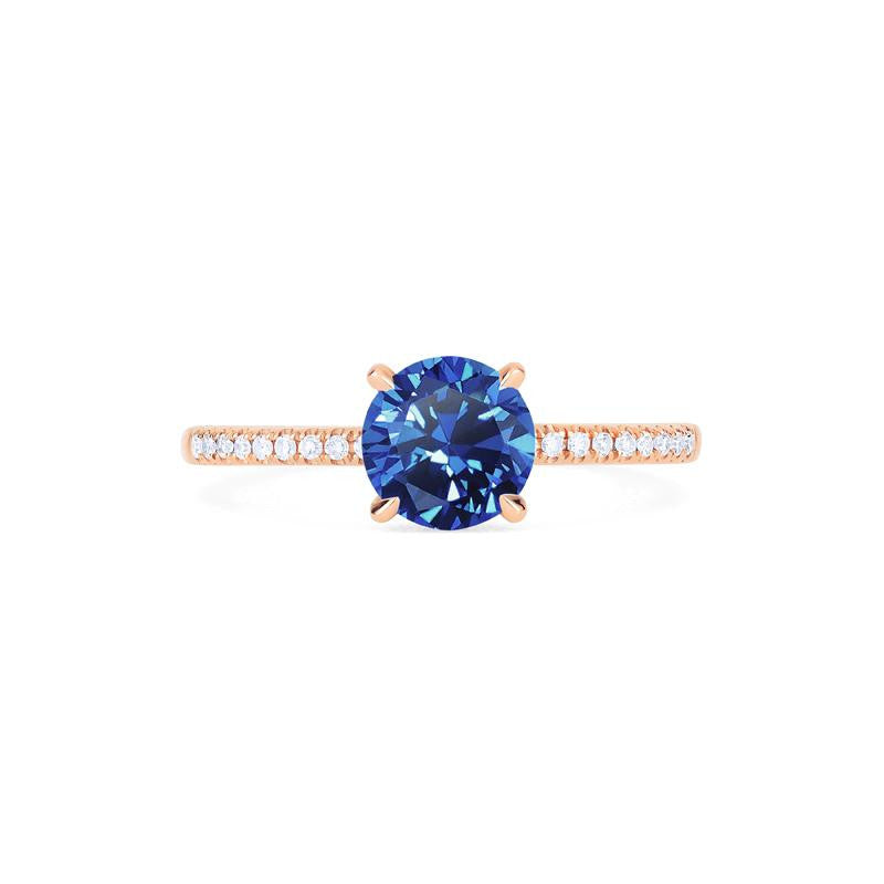 [Celia] Modern Classic Solitaire Ring in Lab Blue Sapphire - Women's Ring - Michellia Fine Jewelry