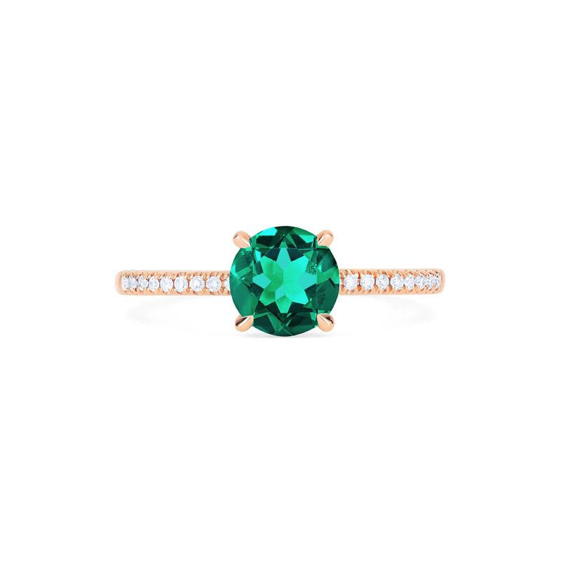 [Celia] Modern Classic Solitaire Ring in Lab Emerald - Women's Ring - Michellia Fine Jewelry