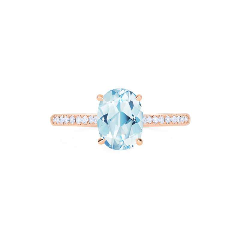 [Elaine] Modern Classic Oval Solitaire Ring in Aquamarine