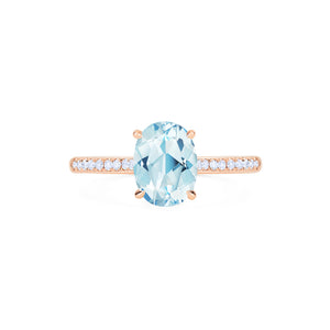 [Elaine] Modern Classic Oval Solitaire Ring in Aquamarine - Women's Ring - Michellia Fine Jewelry