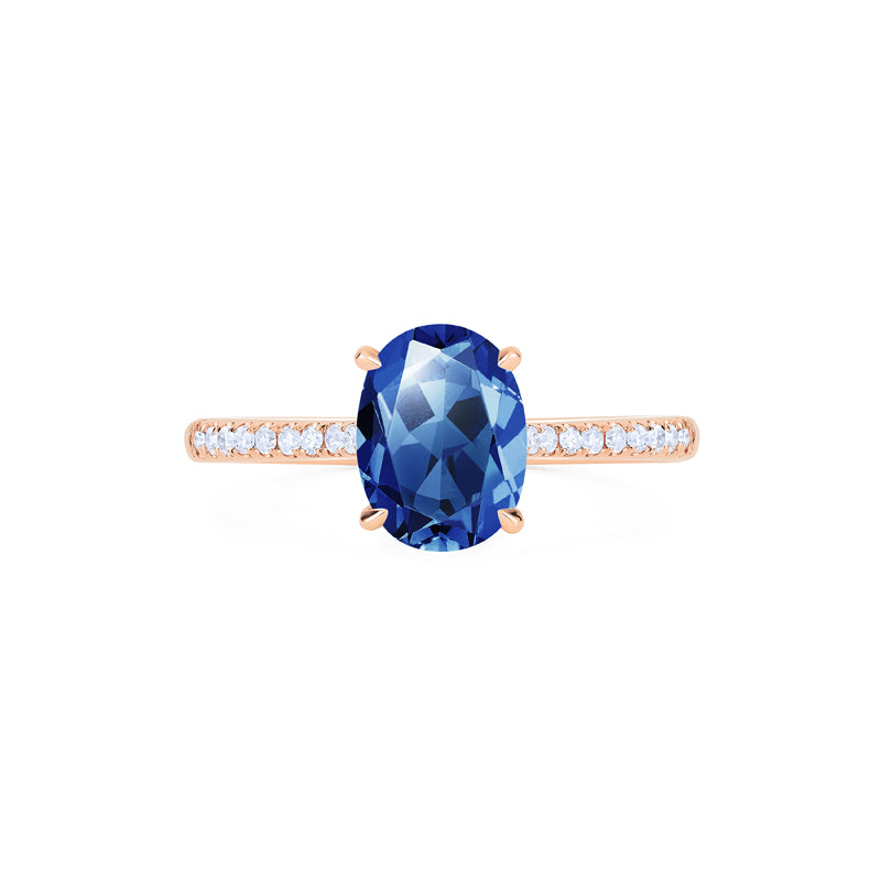 [Elaine] Modern Classic Oval Solitaire Ring in Lab Blue Sapphire - Women's Ring - Michellia Fine Jewelry