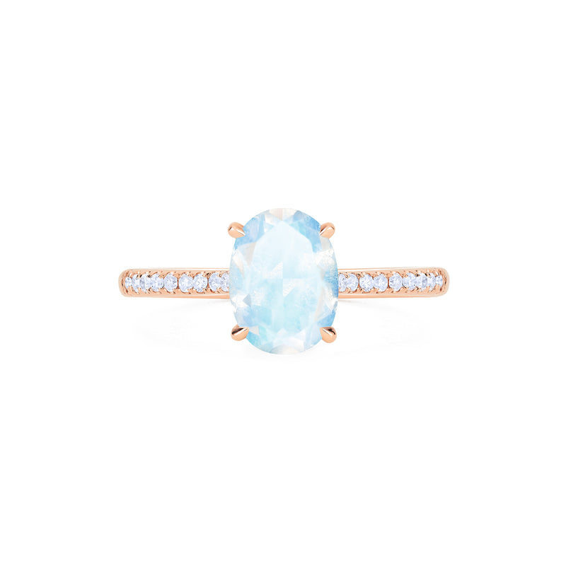 [Elaine] Modern Classic Oval Solitaire Ring in Moonstone - Women's Ring - Michellia Fine Jewelry