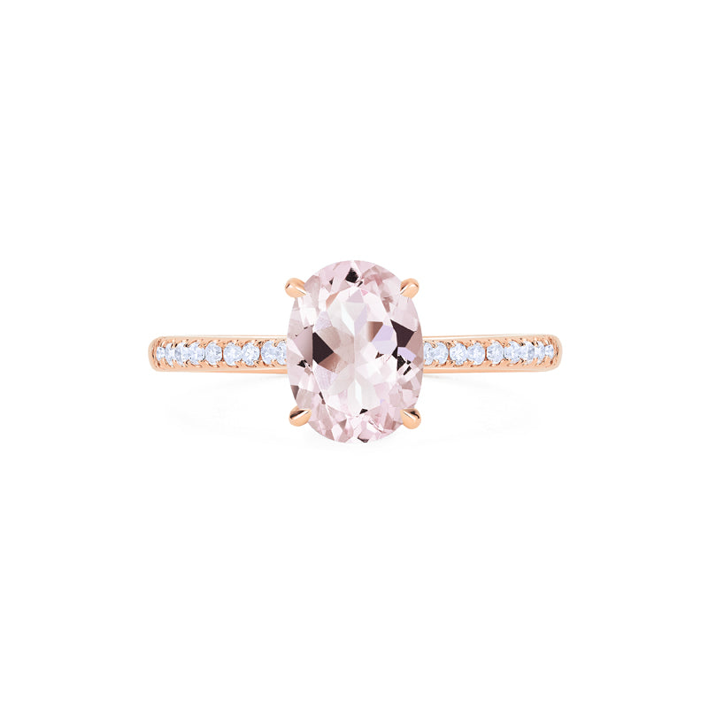 [Elaine] Modern Classic Oval Solitaire Ring in Morganite - Women's Ring - Michellia Fine Jewelry
