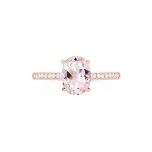 [Elaine] Ready-to-Ship Modern Classic Oval Solitaire Ring in Morganite - Women's Ring - Michellia Fine Jewelry