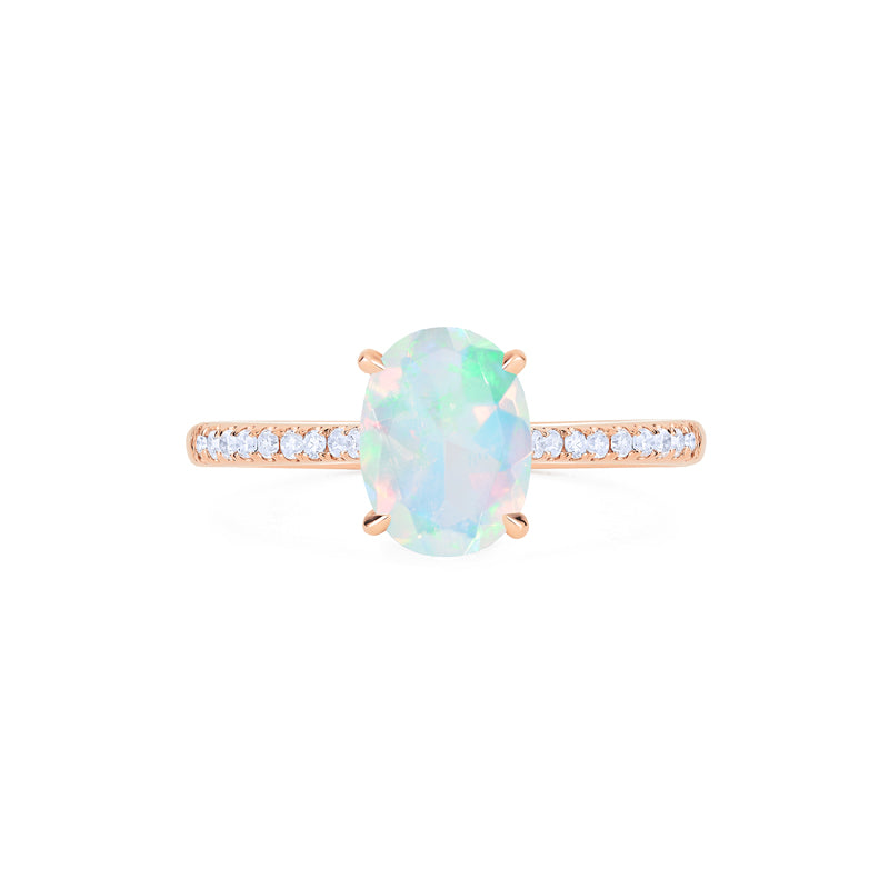 [Elaine] Ready-to-Ship Modern Classic Oval Solitaire Ring in Opal - Women's Ring - Michellia Fine Jewelry