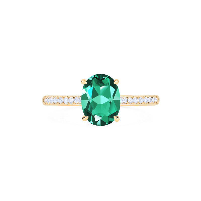 [Elaine] Ready-to-Ship Modern Classic Oval Solitaire Ring in Lab Emerald - Women's Ring - Michellia Fine Jewelry