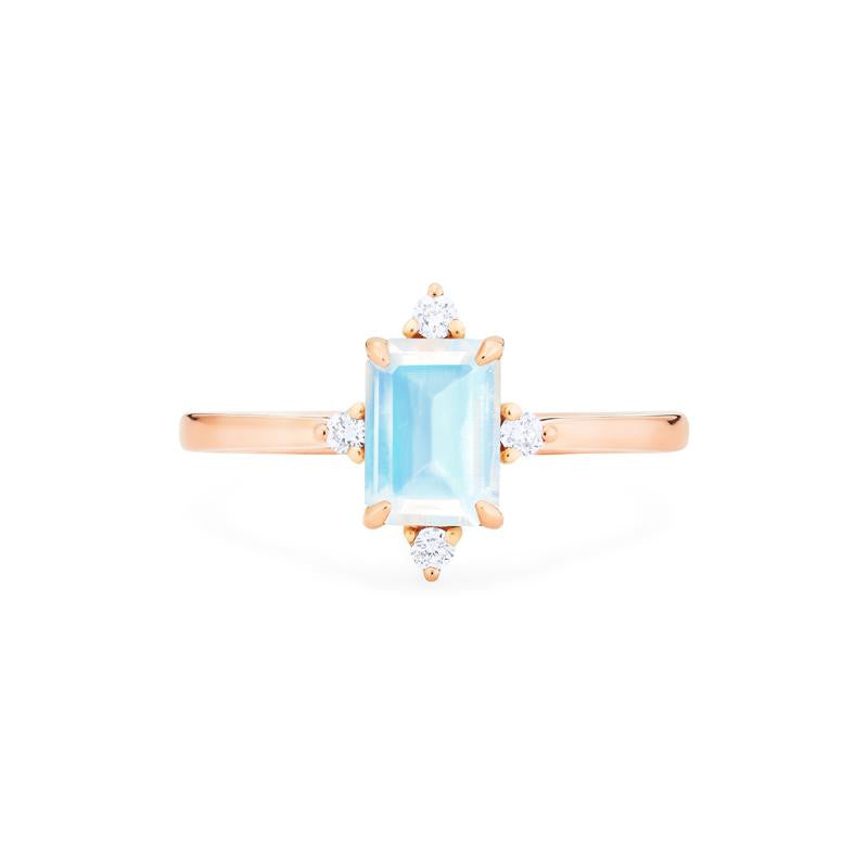 [Justine] Mid Century Emerald Cut Ring in Moonstone
