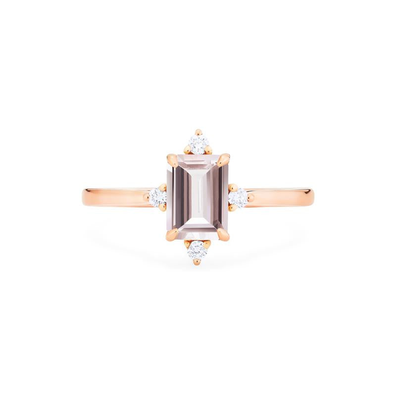 [Justine] Mid Century Emerald Cut Ring in Morganite - Women's Ring - Michellia Fine Jewelry