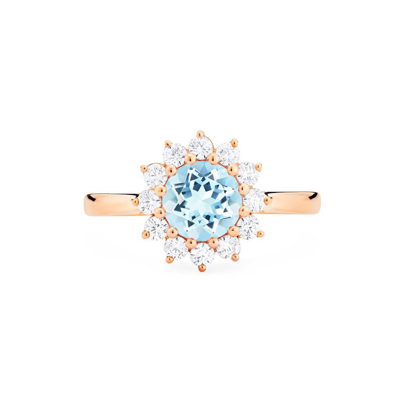 [Rosalie] Vintage Bloom Ring in Aquamarine - Women's Ring - Michellia Fine Jewelry