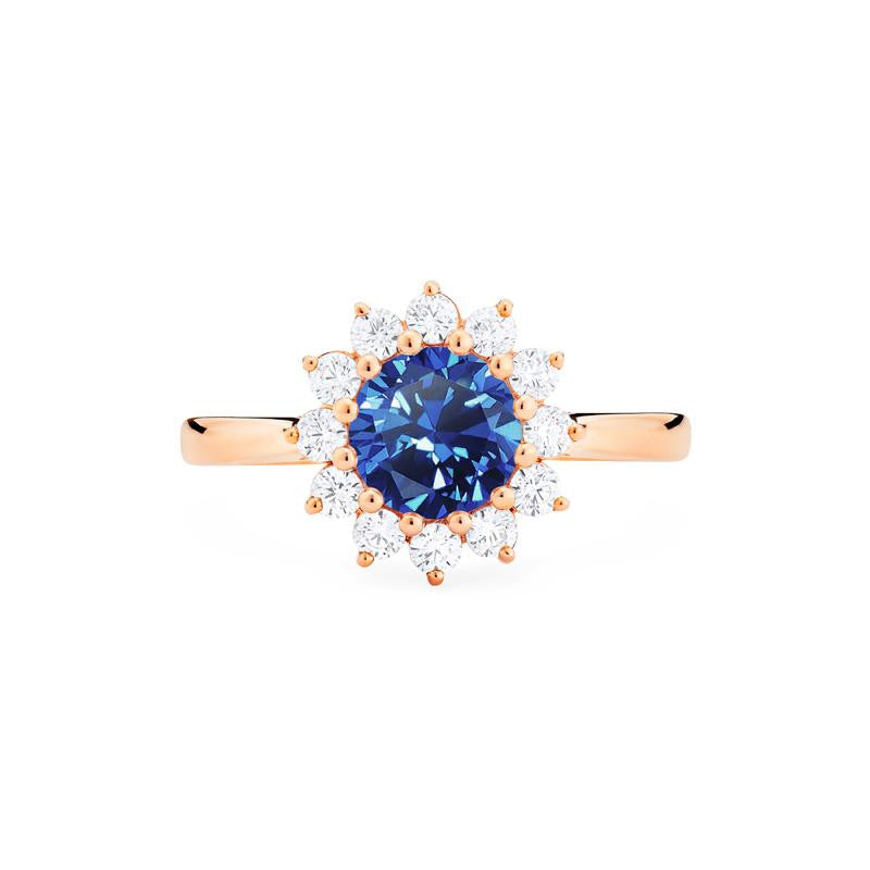 [Rosalie] Vinage Bloom Ring in Lab Blue Sapphire - Michellia Fine Jewelry