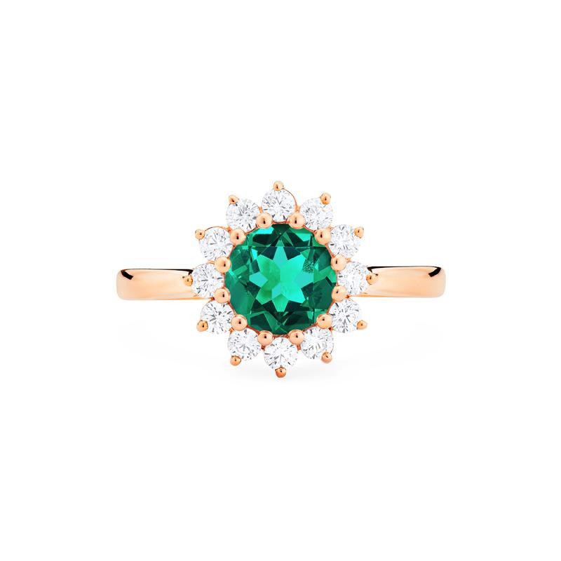 [Rosalie] Vinage Bloom Ring in Lab Emerald - Michellia Fine Jewelry