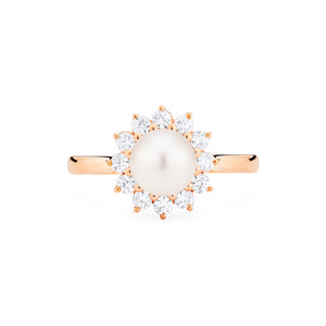 [Rosalie] Vintage Bloom Ring in Akoya Pearl - Women's Ring - Michellia Fine Jewelry