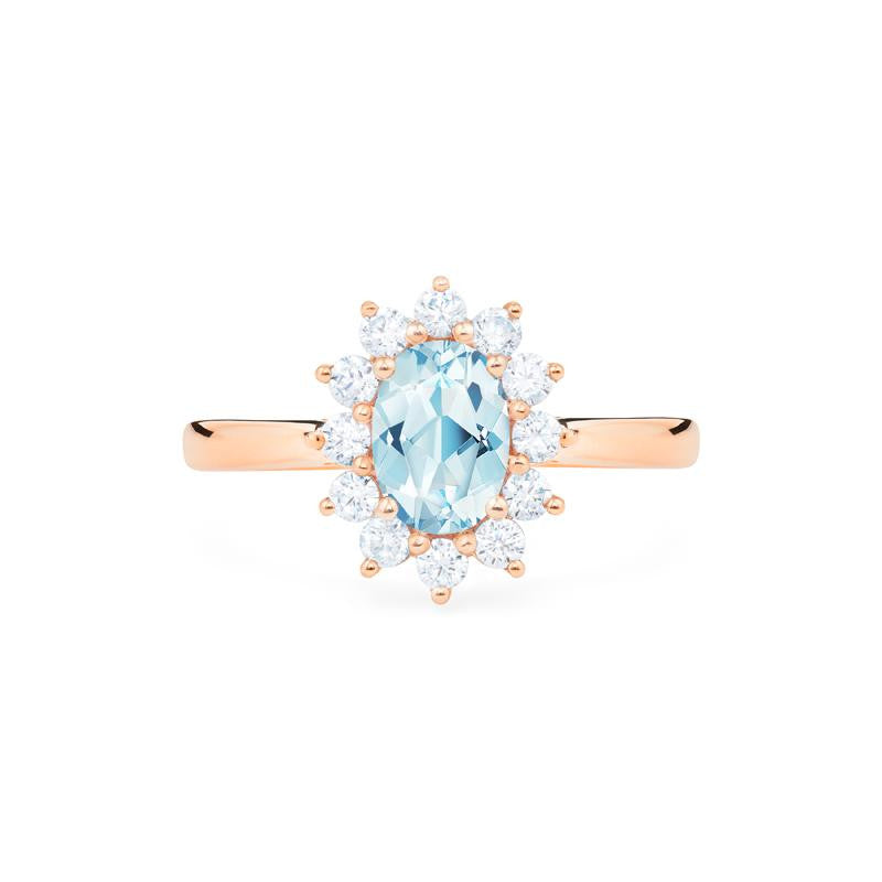 [Julianne] Vintage Bloom Oval Cut Ring in Aquamarine - Women's Ring - Michellia Fine Jewelry