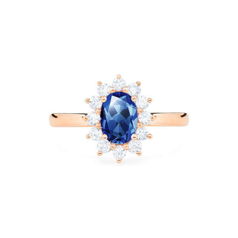 [Julianne] Vintage Bloom Oval Cut Ring in Lab Blue Sapphire - Women's Ring - Michellia Fine Jewelry